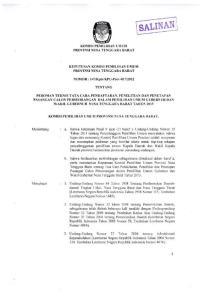7. Peraturan Komisi Pemilihan Umum Nomor 09 Tahun 2012 tentang Pedoman Teknis Pencalonan Pemilihan Umum Kepala Daerah dan Wakil Kepala Daerah