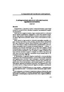 8. A szövegmondatok adott és új információ szerinti tagolásának elemzéséhez