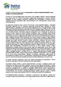 A Habitat for Humanity Magyarország néhány észrevétele a Nemzeti társadalmi felzárkózási és roma stratégia tervezetével kapcsolatban
