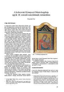 A kolozsvári Könnyező Mária kegykép egyik 18. századi másolatának restaurálása