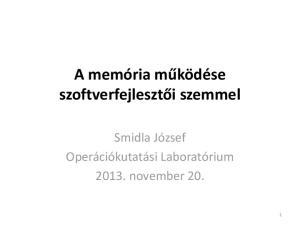 A memória működése szoftverfejlesztői szemmel. Smidla József Operációkutatási Laboratórium november 20
