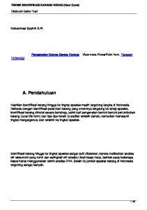 A. Pendahuluan. Muhammad Syahrir S.Pi. Pengenalan Genus-Genus Karang. View more PowerPoint from Yayasan TERANGI
