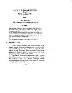 A. PENDAHULUAN WACANA BAHASA INDONESIA DAN PENGAJARANI\IYA