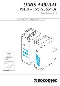 A41 RS485 PROFIBUS DP COM. Gebruiksaanwijzing. PROFIBUS Certificatie ON 1
