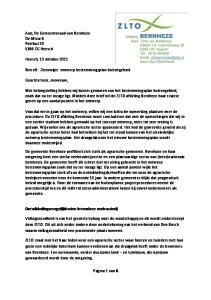 Aan; De Gemeenteraad van Bernheze De Misse 6 Postbus ZG Heesch. Heesch, 13 oktober 2011