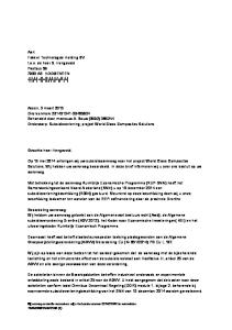 Aan: Fokker Technologies Holding BV t.a.v. de heer S. Hengeveld Postbus AB HOOGEVEEN 7900 AB59