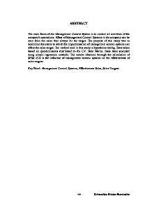 ABSTRACT. Key Word: Management Control Systems, Effectiveness Sales, Sales Targets. vii. Universitas Kristen Maranatha