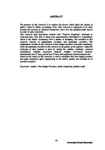 ABSTRACT. Keywords : Auditor, Time Budget Pressure, Audit Complexity, Quality Audit. vii Universitas Kristen Maranatha