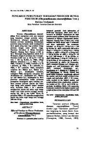 ABSTRAK. ABSTRACT Effect of Fertilizer to Flower Production. Piretrum (Chrysanthemum cinerariifolium