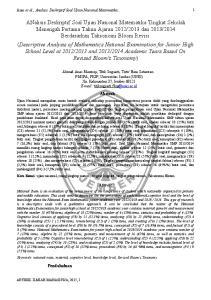 Abstrak. Pendahuluan. Anas et al., Analisis Deskriptif Soal Ujian Nasional Matematika