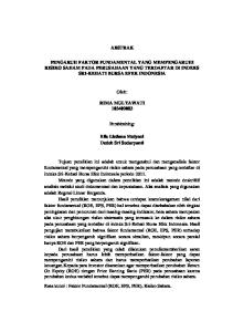 ABSTRAK PENGARUH FAKTOR FUNDAMENTAL YANG MEMPENGARUHI RISIKO SAHAM PADA PERUSAHAAN YANG TERDAFTAR DI INDEKS SRI-KEHATI BURSA EFEK INDONESIA