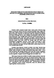 ABSTRAKSI PENGARUH PERGANTIAN MENTERI KEUANGAN TERHADAP RETURN DAN ABNORMAL RETURN SAHAM LQ 45 DI BURSA EFEK INDONESIA (EVENT STUDY)