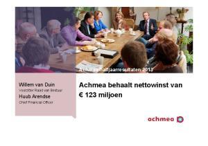 Achmea behaalt nettowinst van 123 miljoen