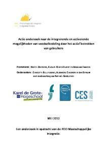 Actie-onderzoek naar de integrerende en activerende mogelijkheden van voedselbedeling door het actief betrekken van gebruikers