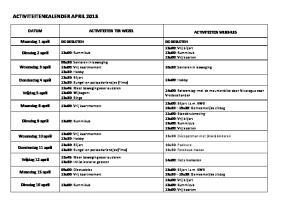 ACTIVITEITENKALENDER APRIL 2013