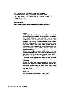ADAT RECHT SEBAGAI BUKTI SEJARAH DALAM PERKEMBANGAN HUKUM POSITIF DI INDONESIA