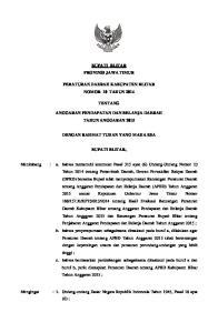 adm BUPATI BLITAR PROVINSI JAWA TIMUR PERATURAN DAERAH KABUPATEN BLITAR NOMOR 10 TAHUN 2014 TENTANG