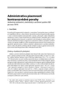 Administrativa písemností kontrarozvědné povahy Jednotný evidenční, statistický a archivní systém StB po roce 1970