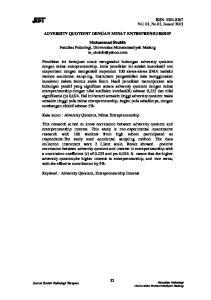 ADVERSITY QUOTIENT DENGAN MINAT ENTREPRENEURSHIP. Muhammad Shohib Fakultas Psikologi, Universitas Muhammadiyah Malang