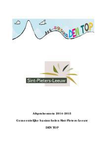 Afsprakennota Gemeentelijke basisscholen Sint-Pieters-Leeuw DEN TOP