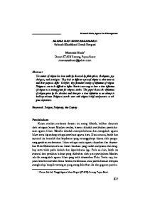 AGAMA DAN KEBERAGAMAAN: Sebuah Klarifikasi Untuk Empati. Munawir Haris 1 Dosen STAIN Sorong, Papua Barat