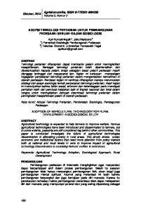 Agriekonomika, ISSN Volume 3, Nomor 2 ADOPSI TEKNOLOGI PERTANIAN UNTUK PEMBANGUNAN PEDESAAN: SEBUAH KAJIAN SOSIOLOGIS
