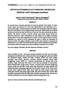 AKTIVITAS ANTIOKSIDAN DAN TABIR SURYA FRAKSI DARI EKSTRAK LAMUN (Syringodium Isoetifolium)