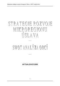 Aktualizace strategie rozvoje mikroregionu Úslava SWOT analýza obcí