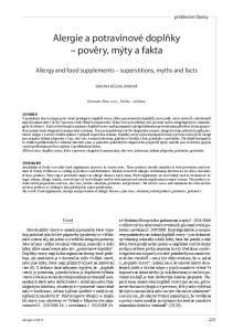 Alergie a potravinové doplňky pověry, mýty a fakta