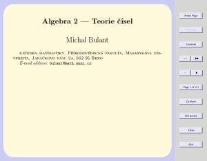 Algebra 2 Teorie čísel. Michal Bulant
