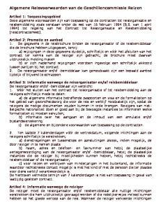 Algemene Reisvoorwaarden van de Geschillencommissie Reizen