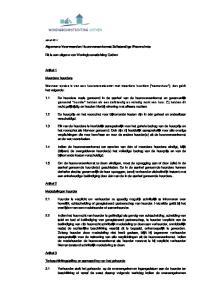 Algemene Voorwaarden Huurovereenkomst Zelfstandige Woonruimte