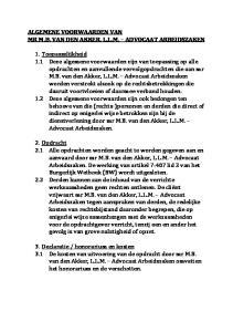 ALGEMENE VOORWAARDEN VAN MR M.B. VAN DEN AKKER, L.L.M. ADVOCAAT ARBEIDSZAKEN