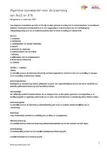 Algemene voorwaarden voor de kraamzorg van ActiZ en BTN
