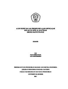 ALIH KODE DALAM PROSES BELAJAR-MENGAJAR KELAS VII MTS AL-KAUTSAR SRONO BANYUWANGI