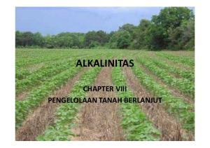 ALKALINITAS CHAPTER VIII PENGELOLAAN TANAH BERLANJUT