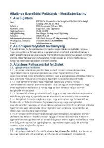 Általános Szerződési Feltételek MostSzámlázz.hu 1. A szolgáltató