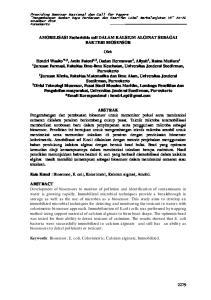 AMOBILISASI Escherichia coli DALAM KALSIUM ALGINAT SEBAGAI BAKTERI BIOSENSOR. Oleh