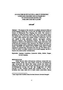 AN ANALYSIS OF SYNTACTICAL ABILITY OF SECOND LANGUAGE CHILDREN AGE 5-6 YEARS OLD IN TAMAN KANAK-KANAK (TK) PARA BINTANG KOTA JAMBI