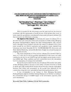 ANALISA KADMIUM (Cd) PADA AIR SUMUR DI SEKITAR PERSAWAHAN DI DESA MOMPANG KECAMATAN PADANGSIDIMPUAN ANGKOLA JULU KOTA PADANGSIDIMNPUAN TAHUN 2013