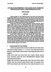 ANALISA KARAKTERISTIK I-V SOLAR SEL HASIL FABRIKASI MENGGUNAKAN SIMULATOR SUPREM3 DAN PC1D