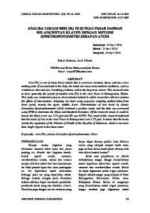 ANALISA LOGAM BESI (Fe) DI SUNGAI PASAR DAERAH BELANGWETAN KLATEN DENGAN METODE SPEKTROFOTOMETRI SERAPAN ATOM