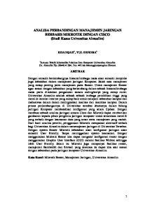 ANALISA PERBANDINGAN MANAJEMEN JARINGAN BERBASIS MIKROTIK DENGAN CISCO (Studi Kasus Universitas Almuslim)