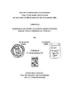 ANALISA PERBANDINGAN PERENCANAAN TEBAL PERKERASAN KAKU ANTARA METODE AASHTO 1993 DENGAN METODE BINA MARGA 1983 TUGAS AKHIR