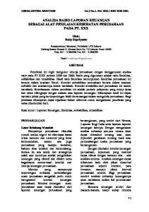 ANALISA RASIO LAPORAN KEUANGAN SEBAGAI ALAT PENILAIAN KESEHATAN PERUSAHAAN PADA PT. XXX