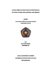 ANALISA RISIKO DAN KEUNTUNGAN INVESTASI SAHAM. BATUBARA DI BURSA EFEK INDONESIA (Tahun ) SKRIPSI
