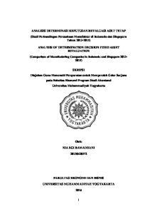 ANALISIS DETERMINASI KEPUTUSAN REVALUASI ASET TETAP (Studi Perbandingan Perusahaan Manufaktur di Indonesia dan Singapura Tahun )