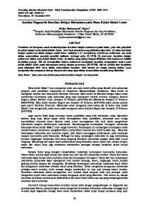 Analisis Diagnostik Kesulitan Belajar Mahasiswa pada Mata Kuliah Model Linier