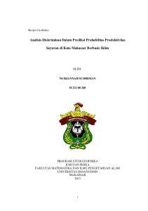 Analisis Diskriminan Dalam Prediksi Probabilitas Produktivitas. Sayuran di Kota Makassar Berbasis Iklim