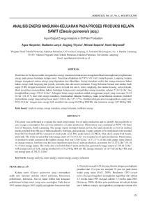 ANALISIS ENERGI MASUKAN-KELUARAN PADA PROSES PRODUKSI KELAPA SAWIT (Elaesis guineensis jacq.)